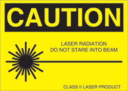 "Class II Label for Helium Neon Lasers..2 1/4"" x 1 3/4"""