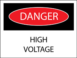 "High Voltage Label - 1 3/4"" x 2 1/4"""