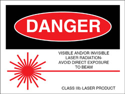 "Class IIIb Logotype Label 2"" x 2 1/2""..""Visible and/or Invisible Laser Radiation"""