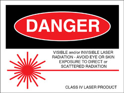 "Class IV Logotype Label 2"" x 2 1/2""..""Visible and/or Invisible Laser Radiation"""