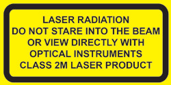 "IEC Explanatory Label  for Class 2M lasers  (2""w x 1""h)"