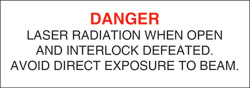 "Class IIIb Defeatably Interlocked Protective Housing Label (Laser Radiation) 3/4"" x 3"""