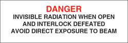 "Class IIIb Defeatebly Interlocked Protective Housing Label  (Invisible Laser Radiation) 3/4"" x 3"""