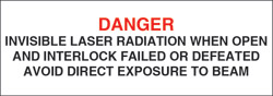 "Class IIIb Optionally Interlocked Protective Housing Label (Invisible Laser Radiation) 3"" x 1"""