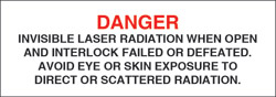 "Class IV Optionally Interlocked Protective Housing Label (Invisible Laser Radiation) 3"" x 1"""