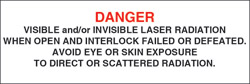 "Class IV Optionally Interlocked Protective Housing Label (Visible and/or Invisible Laser Radiation) 1"" x 3"""