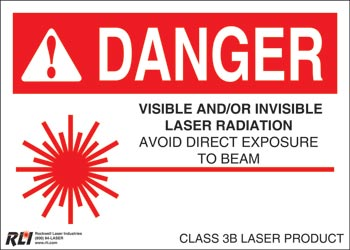 PVC Class 3B Danger Sign-Visible and/or Invisible Laser Radiation