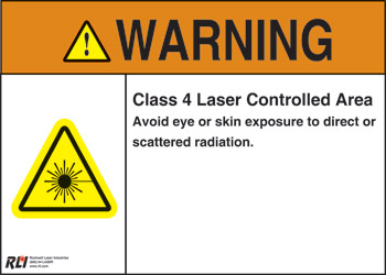 Plastic Class 4 Laser Warning Sign